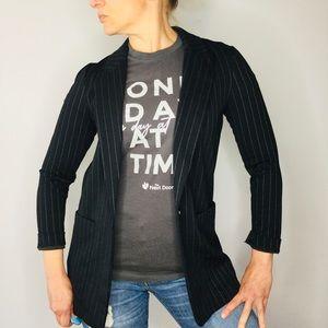 H&M knit pinstriped longline blazer